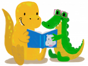 A t-rec and an alligator reading a book about hippos