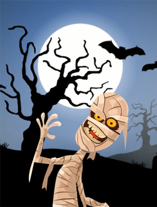Halloween scene with a mummy in front of a moon and black tree